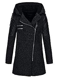 cheap -Women's Jacket Regular Solid Colored Daily Basic Rabbit Fur Navy Black Wine S M L / Cotton