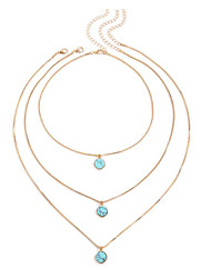 cheap -Women's Turquoise Layered Necklace Stacking Stackable Blessed Natural European Trendy Fashion Stone Alloy 55+7 cm Necklace Jewelry 1pc For Party Evening Gift Formal Birthday Party Festival