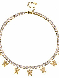 cheap -butterfly necklace tennis chain butterfly choker bling iced cz butterfly necklace gold women (5mm-gold, 16)