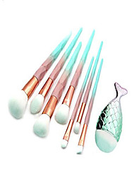 cheap -make up brush set professional foundation blush powder eyeshadow blending brushes cosmetic brush kit beauty brushes with synthetic and vegan bristles blue 8 pcs without bag