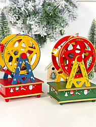 cheap -Wooden Painted Ferris Wheel Christmas Music Box