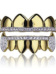 cheap -gold hip hop teeth grillz micro pave cubic zircon top&bottom vampire fangs teeth grills set holleween gift men women (yellow gold)