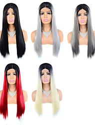 preiswerte -schwarzer Farbverlauf mehrfarbige T-förmige vordere Spitze synthetische Perücke Kopfbedeckung Spitze Perücke Perücke synthetische Faser Spitze Perücke 24 Zoll langes Haar glattes Haar Perücke