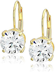 cheap -platinum plated sterling silver round cut cubic zirconia leverback earrings (5mm)