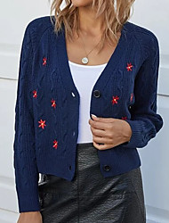 cheap -Women's Knitted Floral Cardigan Acrylic Fibers Long Sleeve Sweater Cardigans V Neck Fall Navy Blue