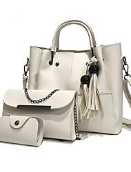 cheap -Women's Bags PU Leather Crossbody Bag 3 Pcs Purse Set Tassel Daily Bag Sets Handbags Dark Brown White Black Red