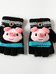 cheap -2pcs Kids Unisex Active Cartoon Half-finger Gloves Black / Blue / Red One-Size