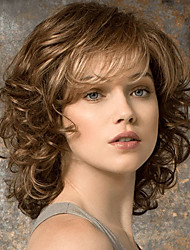 cheap -Synthetic Wig Curly With Bangs Wig Brown Synthetic Hair Women's Fashionable Design Exquisite Fluffy Brown