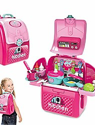 cheap -2 in 1 kids kitchen pretend toy playset with backpack, portable kitchen toy early age development educational pretend play (kitchen playset)