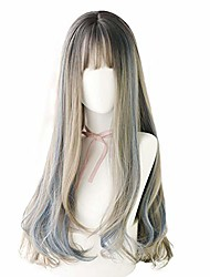cheap -hair dye wig for women synthetic hair natural long curly wig with bangs (25inch,brown black) (aoki pick blue)