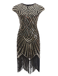 cheap -women plus size 1920s vintage flapper fringe gatsby party dress with 20s accessories set (4xl, black silver)