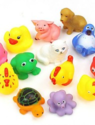cheap -kids toys, 13pcs cute soft float sqeeze sound animals baby kids wash bath play toys baby toys for children toddlers boys girls