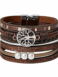 cheap -tree of life boho multilayer leather wrap bracelet for women shiny magnetic clasp bracelet jewelry for girl (brown)