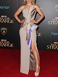 cheap -Sheath / Column Celebrity Style Elegant Engagement Formal Evening Dress Strapless Sleeveless Floor Length Satin with Ruffles Draping Split 2021