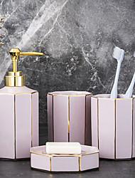 cheap -Bathroom Accessories Set 4 Piece Ceramic Complete Bathroom Set for Bath Decor Includes  Soap Dispenser Soap Dish 2 Mouthwash Cup  Holiday Bathroom Decoration Gift Idea