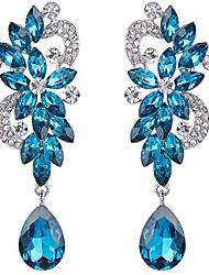cheap -wedding bridal dangle earrings for women bohemian boho crystal flower chandelier teardrop bling earrings blue topaz color silver-tone