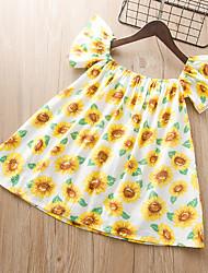 cheap -Kids Girls' Flower Cute Sun Flower Floral Print Short Sleeve Knee-length Dress Yellow