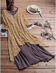cheap -Women's Shift Dress Midi Dress - 3/4 Length Sleeve Print Print Fall V Neck Plus Size Casual Loose 2020 Yellow Gray L XL XXL 3XL 4XL 5XL