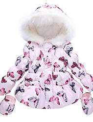 cheap -girls' printed fleece lined jacket hoodie down coat #1 pink butterfly 12-18 months
