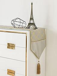 cheap -Modern Light Luxury Table Runner Living Room Dining Room Bronzing Gilt Stitching Tassel Table Runner Tablecloth
