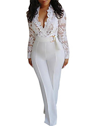 cheap -Women's Basic Sophisticated White Jumpsuit Solid Colored Cut Out Lace