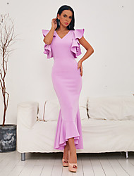 cheap -Sheath / Column Elegant Beautiful Back Party Wear Prom Dress V Neck Sleeveless Ankle Length Spandex with Ruffles 2020