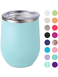 cheap -maars bev stainless steel stemless wine glass tumbler with lid, vacuum insulated 12 oz cup | spill proof, travel friendly, fun cocktail drinkware - matte seafoam