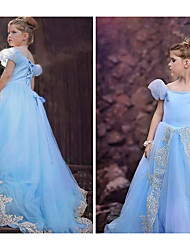 cheap -Princess Cosplay Costume Masquerade Girls' Movie Cosplay A-Line Slip Vacation Blue Dress Halloween Children's Day Masquerade Organza Cotton