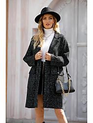 cheap -Women's Coat Solid Colored Basic Fall & Winter Peaked Lapel Long Daily Long Sleeve Wool Coat Tops Gray