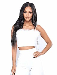 cheap -women sexy faux fur trim spaghetti strap crop camisole cami vest tank top white, small