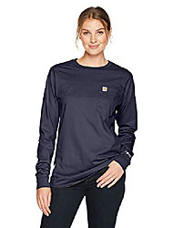 cheap -flame resistant womens force cotton long sleeve crew t shirt, dark navy, 2x-large