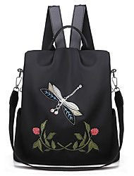 cheap -women small dragonfly flowers embroidery oxford backpack anti-theft back zipper closure daypack schoolbag convertible shoulder bag black