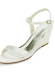 cheap -Women's Wedding Shoes Wedge Heel Open Toe Sweet Wedding Party & Evening Satin Buckle Solid Colored White Black Purple