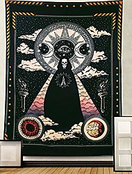 """cheap -wizard skull tapestry wall hanging, sun and moon tapestry stars and cloud tapestry, black chakra tapestry, solar gothic tarot tapestry for dorm bedroom & #40;wizard skull, 51.2"""" x 59.1""""& #41;"""