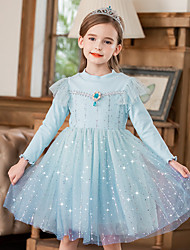 cheap -Princess Flapper Dress Masquerade Girls' Movie Cosplay A-Line Slip Fluff Lining Blue / Pink Dress Christmas Children's Day Masquerade Polyester
