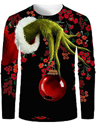 cheap -Men's 3D Graphic T-shirt Print Long Sleeve Christmas Tops Round Neck Black / Red