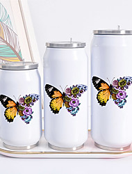 cheap -Butterfly Print Cans Thermo Flask Tumbler Thermos Termo Coffee Mug Water Bottle Termo Cafe Travel Outdoor straw btttle