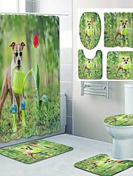 cheap -Puppy Watering Flowers Pattern PrintingBathroom Shower Curtain Leisure Toilet Four-Piece Design