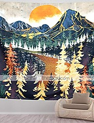 cheap -mountain tapestry wall hanging forest trees art tapestry sunset tapestry road in nature landscape home decor for room & #40;70.9 x 92.5 inches& #41;