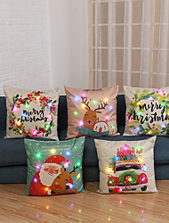 cheap -5pcs Pillowcase Christmas Gift Decoration with LED Lights Linen Cartoon Plants Printing Luminous Cushion Cover Home Sofa Table Chair 45x45cm