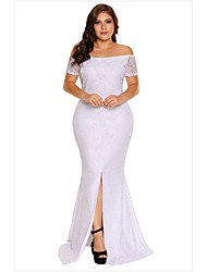 cheap -Women's Trumpet / Mermaid Dress Maxi long Dress - Short Sleeve Solid Color Lace Backless Split Summer Off Shoulder Sexy Party Skinny 2020 White Blushing Pink XL XXL 3XL