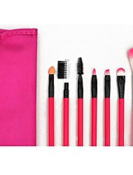 cheap -happy hours pro 7 piece cosmetic makeup brush set soft synthetic fibre hair eyebrow comb lip brush make up eye shadow blush brush face powder foundation concealer tool kit with pouch,rose pink