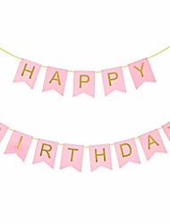 cheap -bipra pink & gold party decorations - happy birthday banner, perfect for any birthday party (pink & gold birthday banner)