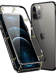 cheap -Phone Case For Apple Full Body Case iPhone 12 Pro Max 11 SE 2020 X XR XS Max 8 7 Magnetic Double Sided Solid Color Tempered Glass Metal