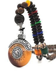 cheap -Women's Pendant Necklace Beaded Necklace Retro Friends Joy Gemini Lucky Blessed Simple Luxury Unique Design Vintage Wooden Resin Alloy Brown 75 cm Necklace Jewelry 1pc For Christmas Street Sport Gift
