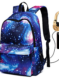 cheap -Unisex Canvas School Bag Rucksack 3D Large Capacity Waterproof Zipper 3D Print Galaxy Star Print Daily Backpack Black Blue Purple Red