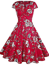 cheap -womens vintage halloween dress skull printed sleeveless costume swing dresses 50s halter cocktail party a-line tea dress (x-large(fits like us 12-14), e sugar skull red)