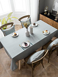 cheap -Nordic Industrial Style Solid Color Tablecloth Waterproof Tablecloth Grey Table Cloth Imitation Cotton Linen Rectangular Embroidery