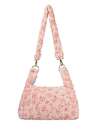 cheap -Women's Bags Velvet Top Handle Bag Hobo Bag Outdoor Fur Bag Handbags Blushing Pink Green Coffee