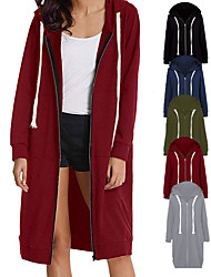 cheap -Women's Coat Black Blue Pink Oversized Zipper Hoodie Cotton Solid Color Cute Sport Athleisure Jacket Tracksuit Long Sleeve Warm Soft Comfortable Everyday Use Causal Exercising General Use / Winter